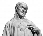 Jesus Christ Statue isolated over white background with clipping path poster