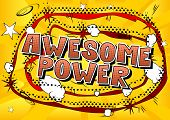Awesome Power - Vector Illustrated Comic Book Style Phrase. poster
