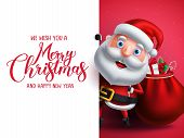Santa Claus Vector Character Holding Gifts With Merry Christmas Greeting In White Empty Space For Ch poster