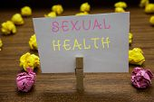 Handwriting Text Writing Sexual Health. Concept Meaning Healthier Body Satisfying Sexual Life Positi poster