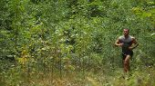 Running Through The Morning Forest. The Guy Is Running Through The Forest. The Athlete Runs Through  poster