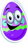 Vector Illustration of a painted Easter egg with a smiling face