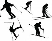 Vector Silhouettes of Various People Skiing