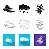 Vector Illustration Of Weather And Weather Symbol. Set Of Weather And Application Vector Icon For St poster