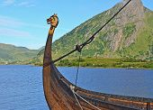 Viking ship with dragon head
