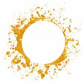 Splatter Gold Round Frame Backgrounds Paints Set With Golden Splash On White. Grunge Blots And Drops poster