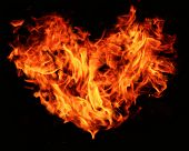 a heart shape made from flames