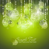 image of christmas flower  - Green Christmas Background with Christmas ornaments - JPG
