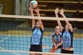 KAPOSVAR, HUNGARY - OCTOBER 16: Zsanett Pinter (blue 2) in action at the Hungarian NB I. League woma