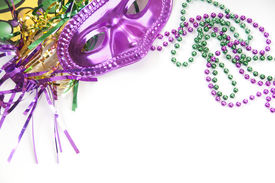 stock photo of mardi gras mask  - Mardi gras mask and beads - JPG