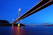 Ting Kau ponte Tsing ma ponte e à noite, em Hong Kong
