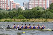 MOSCOW  - JUNE 5: Russian men teams rowing participate in competitions at Great Moscow Regatta 2011