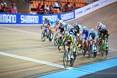 MOSCOW - AUGUST 19: Female cyclists compete at UCI juniors track world championships on August 19, 2
