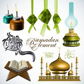 stock photo of jawi  - Vector 3D Ramadan Element Translation of Jawi Text - JPG