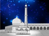 image of kaba  - Eid Mubarak concept with Mosque and Masjid on shiny blue background - JPG