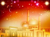 Shiny Eid Mubarak background with moon and golden  Mosque and Masjid. EPS 10.