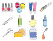 Tools and expendables for manicure. Set of stylized icons.
