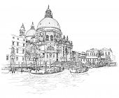 Venice - Cathedral of Santa Maria della Salute - vector drawing
