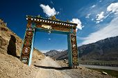 Gates to Ki monastery in himalayas mountain