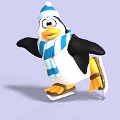 stock photo of growler  - male toon penguin with hat and scarf and clipping path - JPG