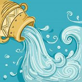 Illustration of Water coming out of Jar as Aquarius Design