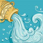 Illustration of Water coming out of Jar as Aquarius Design