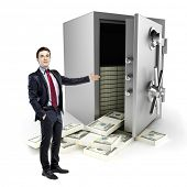 businessman and vault with a lot of money inside, on white background