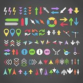 Arrow sign icons color collection