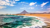 foto of canary-islands  - Landscape with sea and mountain in Fuerteventura - JPG