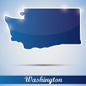 shiny icon in form of Washington state, USA