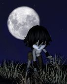 foto of wolf moon  - Cute toon wolf boy prowling in front of a full moon - JPG