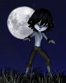 image of wolf moon  - Cute toon wolf boy standing in front of a full moon - JPG