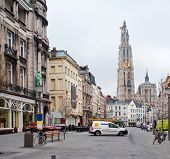 Antwerp. View Of The Cathedral Of The Sacred Mother Of God.