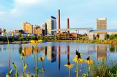 BIRMINGHAM, ALABAMA - APRIL 25: Skyline of Birmingham at Railroad Park April 25, 2012 in Birmingham,