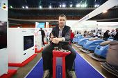 MOSCOW - NOVEMBER 15: Man presents cleaning machines at 14th International Exhibition of purity Expo