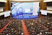 MOSCOW - NOVEMBER 14: Stage and audience at Forum Small Business - New Economy, dedicated to 10th an