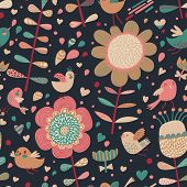 Bright cartoon seamless pattern with cute birds in flowers. Seamless pattern can be used for wallpap