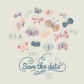 Save the date card in pastel colors. Cartoon butterflies