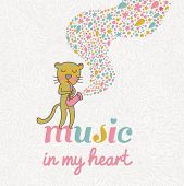 Music in my heart. Funny leopard playing on saxophone in vector. Cartoon childish card.
