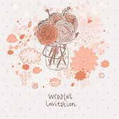 Flowers in jar. Stylish bouquet in vase �¢�?�? wedding invitation card in vector. Abstract flora