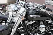"WROCLAW, POLAND - MAY 18: Detail of Harley Davidson motorcycle parked in the city during ""Harley-Dav"