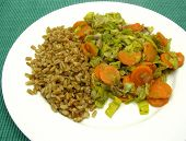 Dish Made Of Cooked Bulgur Wheat Groats, Carrots And Leek poster