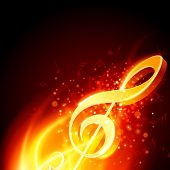 Music note burn in fire background. Raster version from vector version.