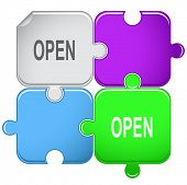 Open. Raster puzzle. Vector version is in portfolio.