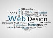 Group of blue web design terms on white background