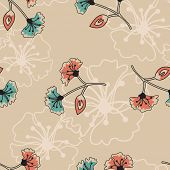 Art Deco Seamless Floral Vector Pattern.  Use as fills for digital paper projects or backgrounds or