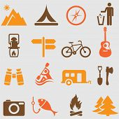 stock photo of row trees  - Camping icons set - JPG