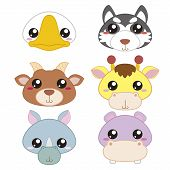 stock photo of hippopotamus  - six cute cartoon animal head icons with white background - JPG