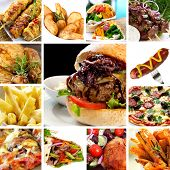 image of burger  - Collage of fast food items - JPG