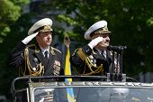 SEVASTOPOL, UKRAINE - MAY 9: Vice admirals Fedotenkov, Russia, left and Ilyin, Ukraine review the tr